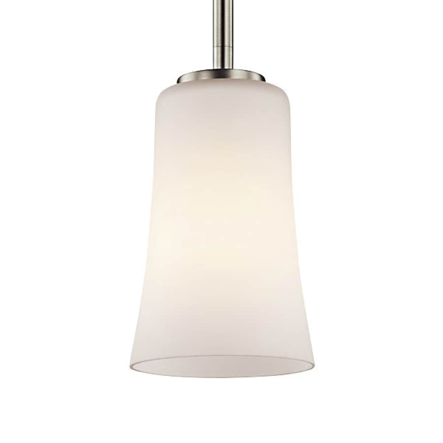 Kichler Lighting Armida 5-in Brushed Nickel Hardwired Mini Etched Glass Bell Pendant