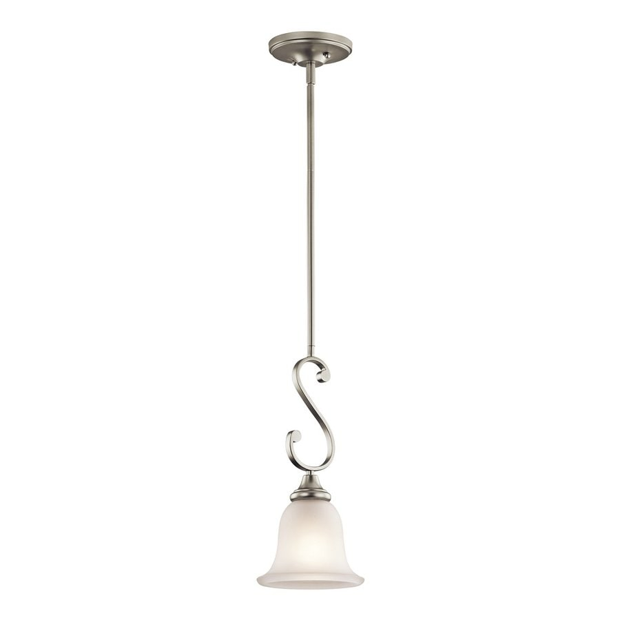 Kichler Lighting Monroe 7-in Brushed Nickel Country Cottage Hardwired Mini Etched Glass Bell Pendant