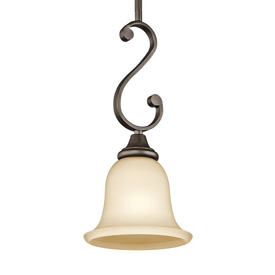Kichler Monroe 7-in Olde Bronze Country Cottage Hardwired Mini Etched Glass Bell Pendant