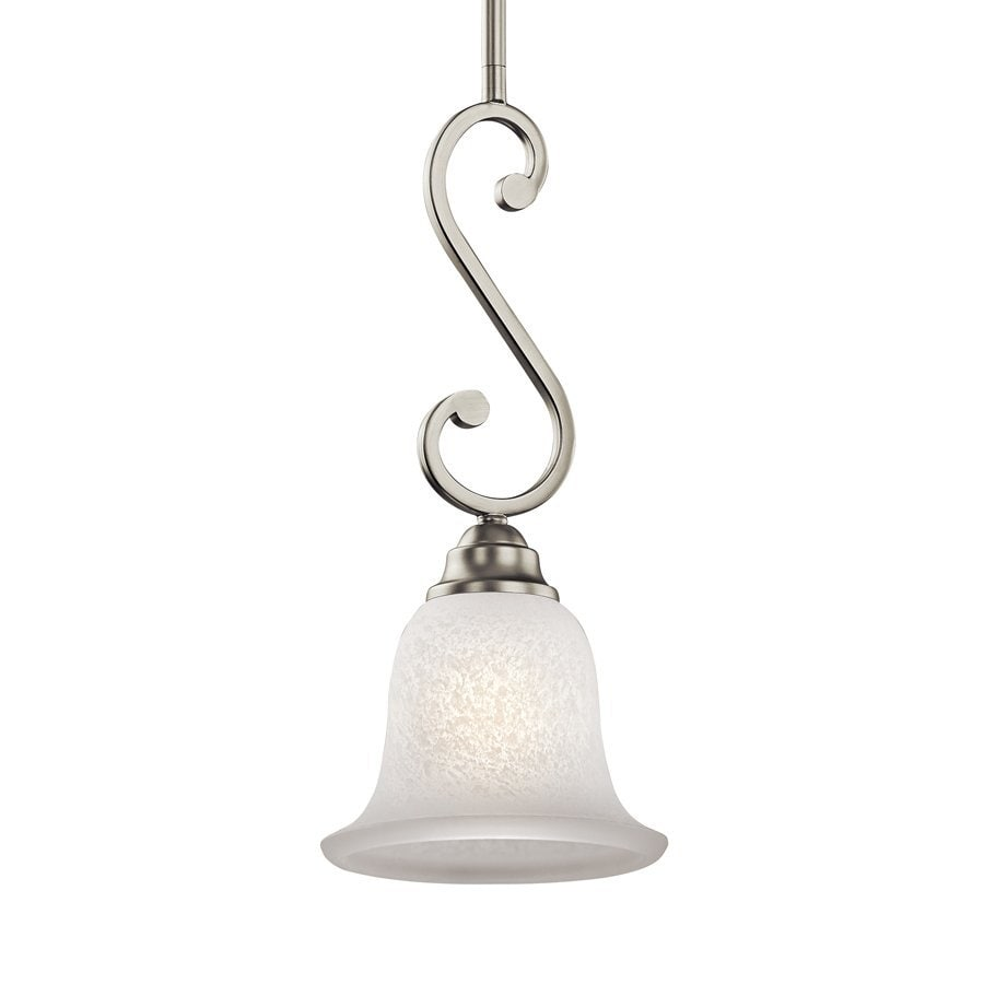 Kichler Camerena 7-in Brushed Nickel Country Cottage Hardwired Mini Textured Glass Bell Pendant
