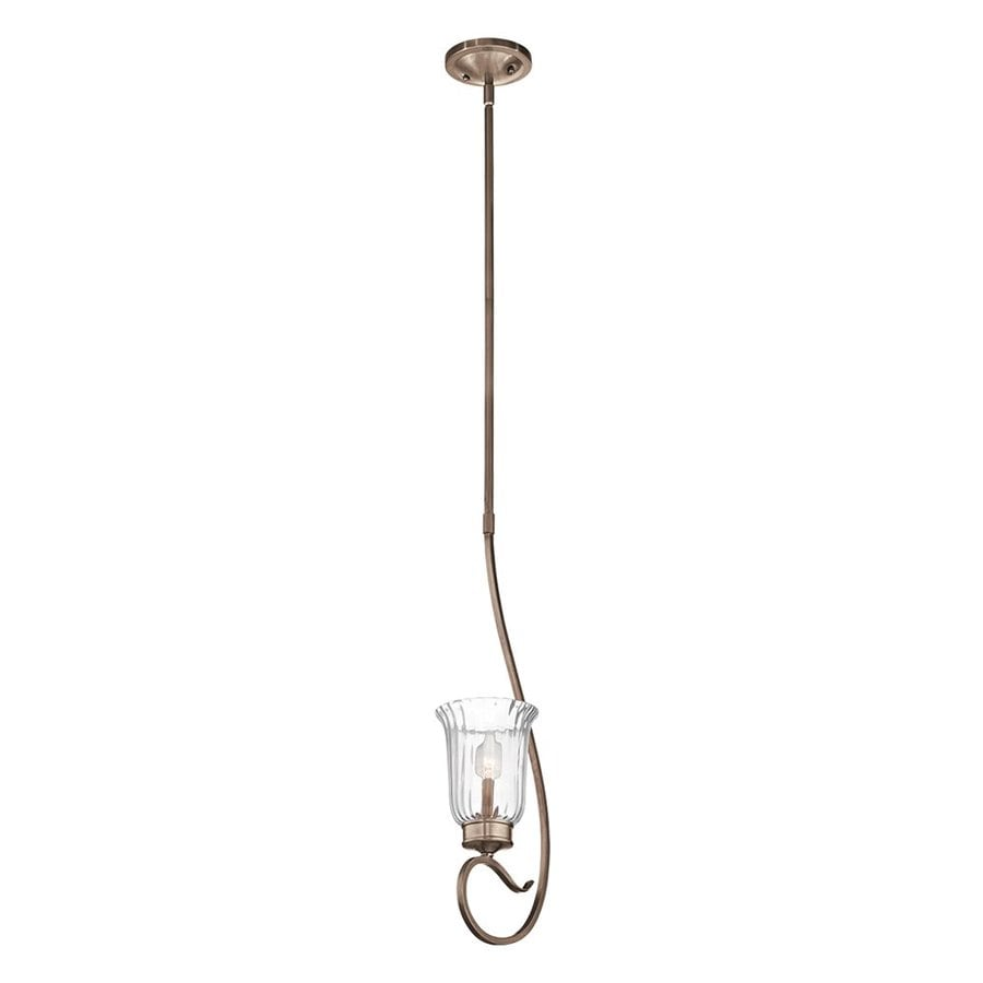 Kichler Lighting Malina 8.25-in Brushed Silver/Gold Country Cottage Hardwired Mini Ribbed Glass Jar Pendant