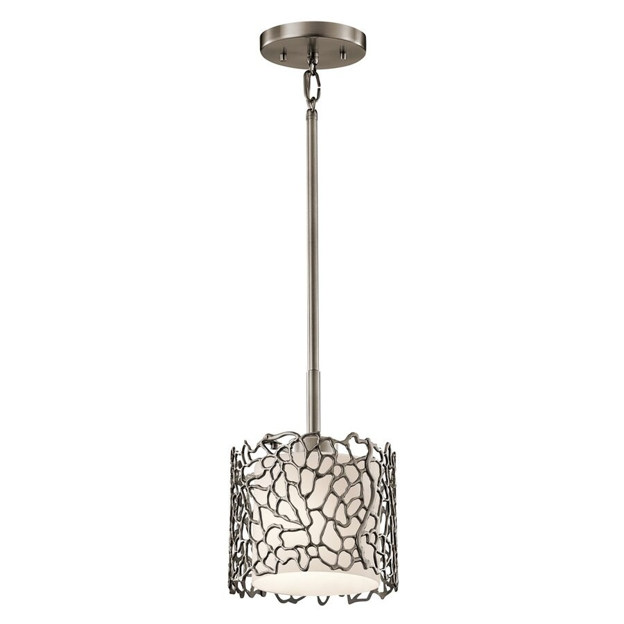 Kichler Silver Coral 7.25-in Classic Pewter Hardwired Mini Etched Glass Cylinder Pendant