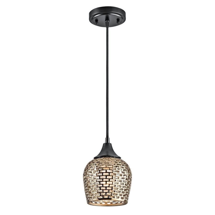 Kichler Annata 6.25-in Black/Gold Hardwired Mini Bell Pendant