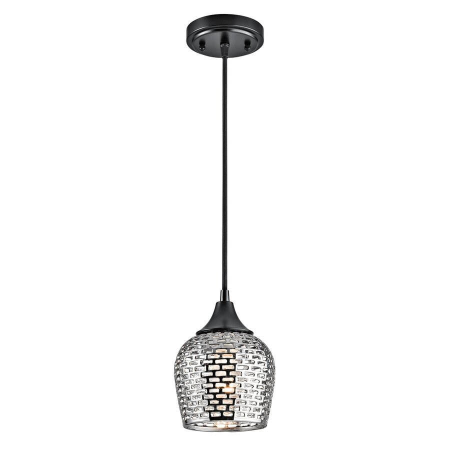 Kichler Lighting Annata 6.25-in Black/Silver Hardwired Mini Cylinder Pendant