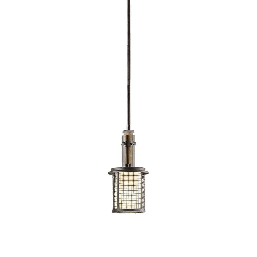 Kichler Ahrendale 6-in Anvil Iron Industrial Hardwired Mini Cage Pendant