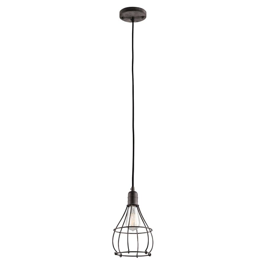 Kichler Industrial Cage 6.75-in Weathered Zinc Industrial Hardwired Mini Cage Pendant