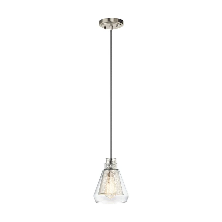 Kichler Evie 6.5-in Brushed Nickel Vintage Hardwired Mini Mercury Glass Cone Pendant