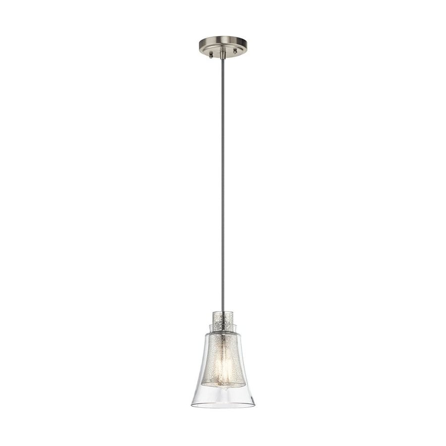 Kichler Evie 6-in Brushed Nickel Vintage Hardwired Mini Mercury Glass Bell Pendant