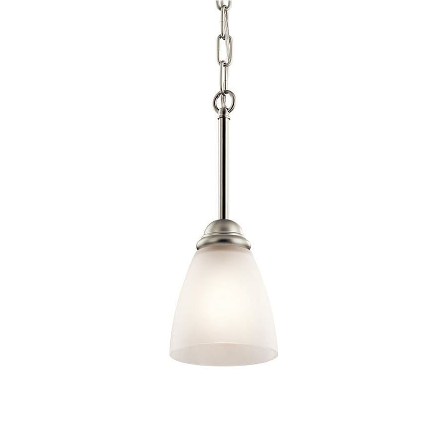 Kichler Jolie 4.75-in Brushed Nickel Country Cottage Hardwired Mini Etched Glass Cone Pendant