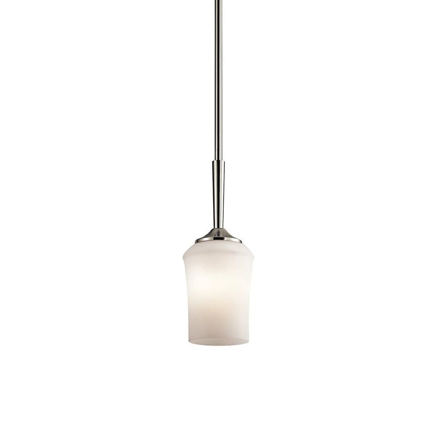 Kichler Aubrey 4.75-in Brushed Nickel Hardwired Mini Etched Glass Cylinder Pendant