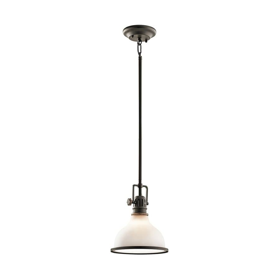 Kichler Hatteras Bay 8-in Olde Bronze Vintage Hardwired Mini Etched Glass Warehouse Pendant