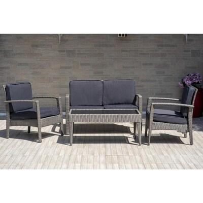 Atlantic 4 Piece Wicker Frame Patio Conversation Set With Cushions