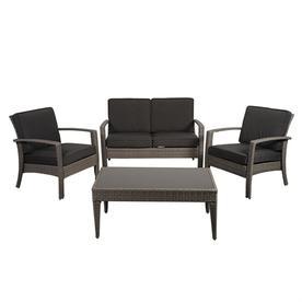 International Home Atlantic 4 Piece Wicker Frame Patio Conversation Set With Cushions