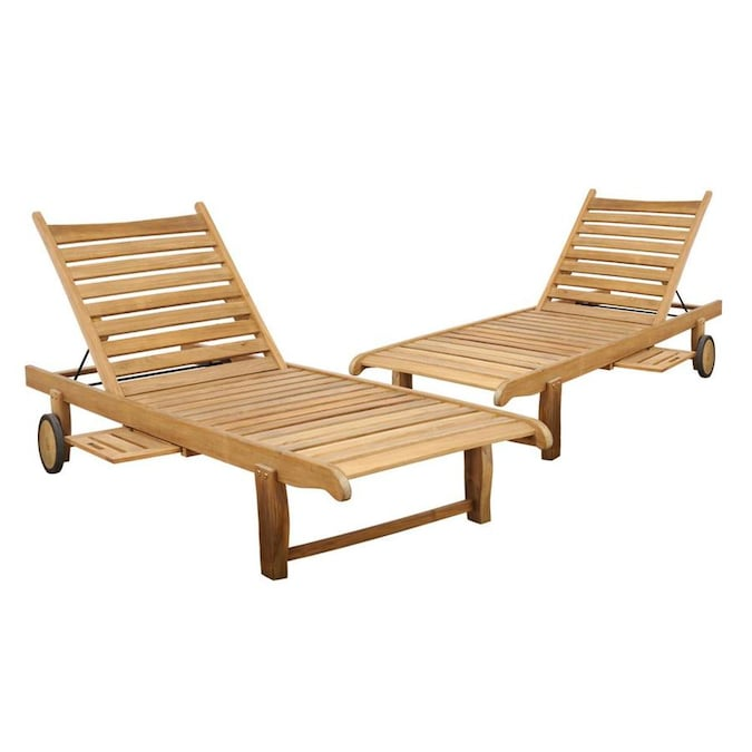 International Home Amazonia Teak Set Of 2 Brown Wood Frame Stationary Chaise Lounge Chair S With Slat Seat In The Patio Chairs Department At Lowes Com