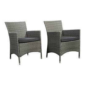 International Home Atlantic Set Of 2 Wicker Metal Stationary Conversation Chairs With Gray Cushioned Seat