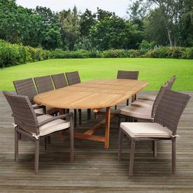 International Home Ia Teak 11 Piece Brown Frame Patio Set With Cushions