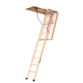 Fakro Lwf 22 5x54 Fire Rated Wood Attic Ladder 7 95 Ft To 10 08 Ft Rough Opening 22 5 In X 54 In Folding Wood Attic Ladder With 300 Lbs Capacity In The Attic Ladders Department At Lowes Com