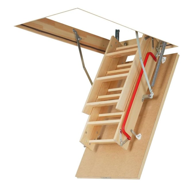 Fakro Lwp Insulated 7 83 Ft To 10 08 Ft Rough Opening 30 In X 54 In Folding Wood Attic Ladder With 300 Lbs Capacity In The Attic Ladders Department At Lowes Com