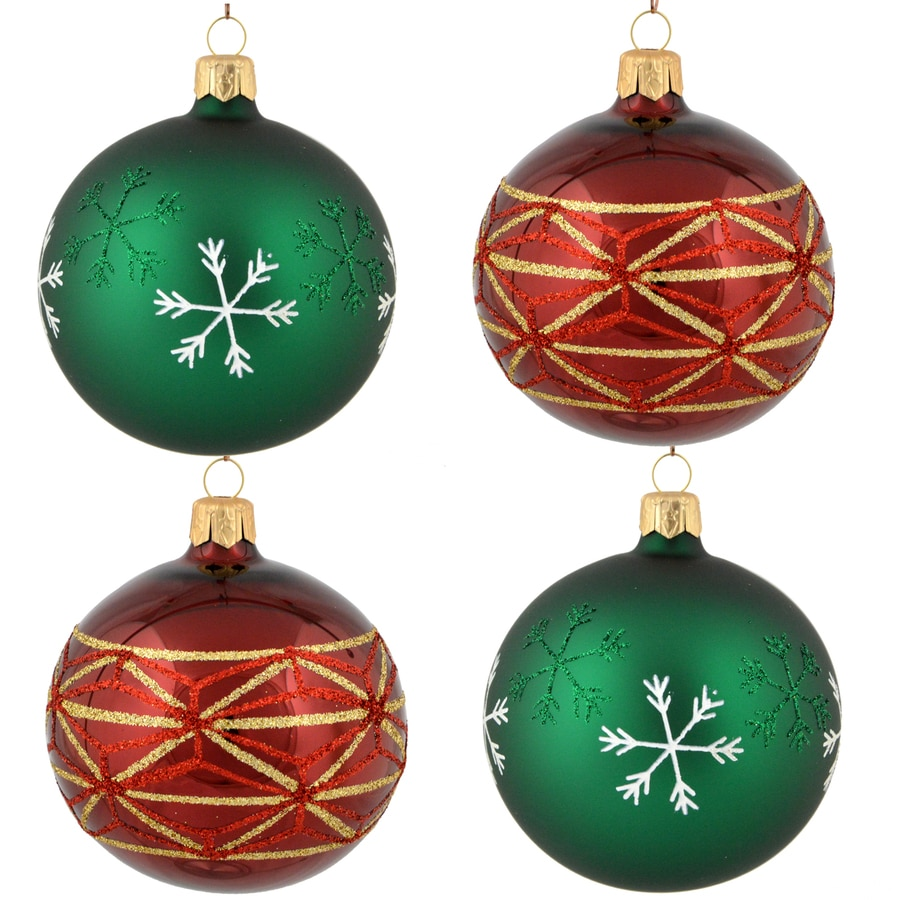 Holiday Living 4-Pack Purple/Green Ball Ornament Set