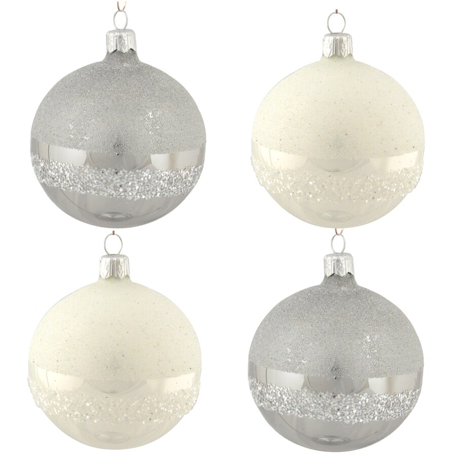 allen + roth 4-Pack White/Grey Ball Ornament Set