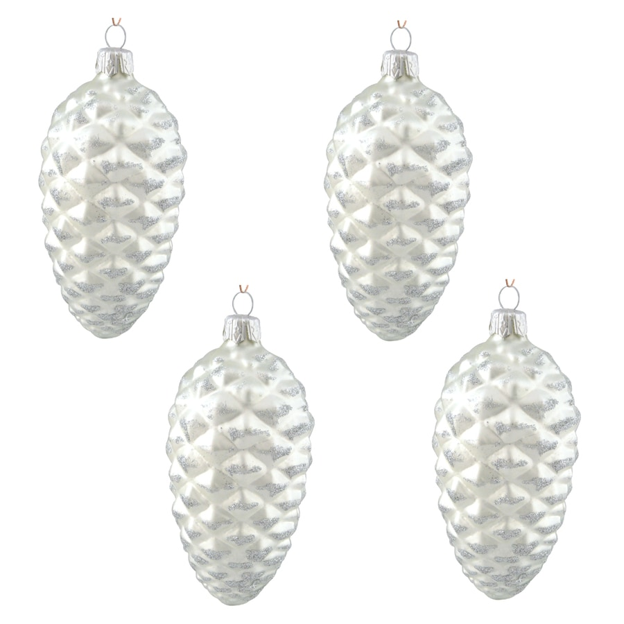 allen + roth 4-Pack Silver Acorn Ornament Set
