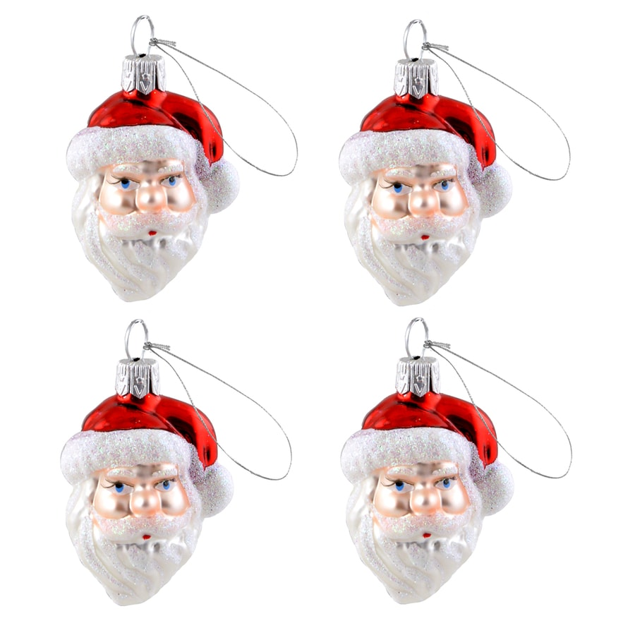 Holiday Living 4-Pack Red/White Santa Ornament (Unlit) (Unlit) Lights