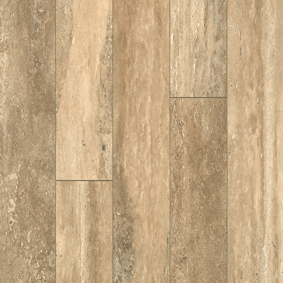 allen + roth 5.23-in W x 3.93-ft L Estate Stone Smooth Tile Look Laminate Flooring