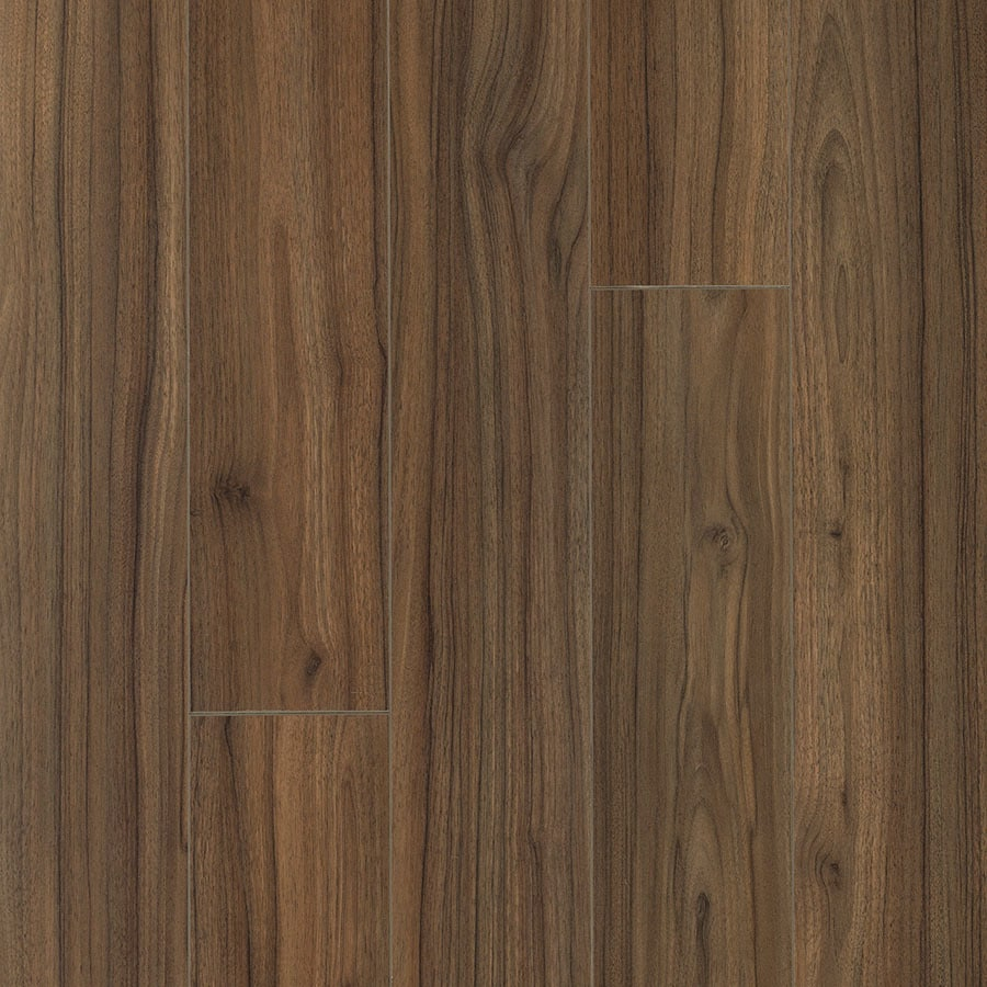 Pergo Portfolio 6.14-in W x 3.93-ft L Marion Walnut Smooth Wood Plank Laminate Flooring