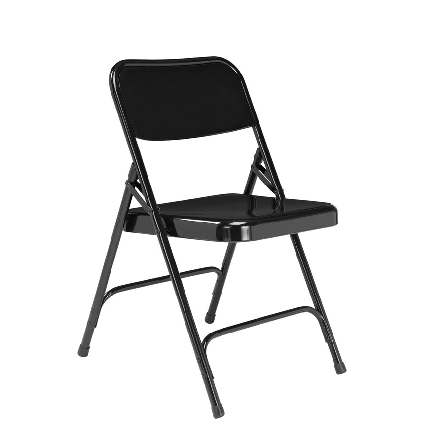 National Public Seating 4-Pack Indoor Steel Black Standard Folding Chairs