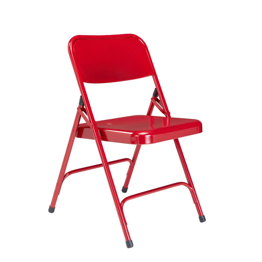 National Public Seating 4-Pack Indoor Steel Fire Engine Red Standard Folding Chairs