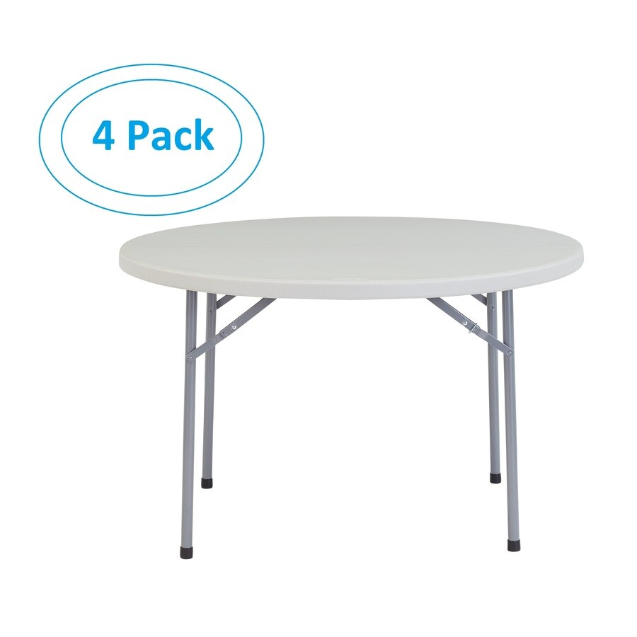 National Public Seating 4-Pack 48-in x 48-in Circle Steel Lightly Spotted Grey Folding Tables