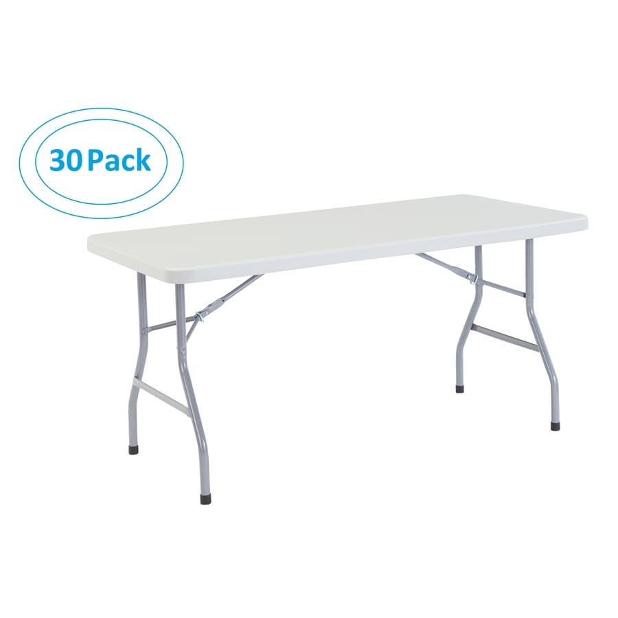 National Public Seating Set of 30 60-in x 30-in Rectangle Steel Lightly Spotted Grey Folding Tables