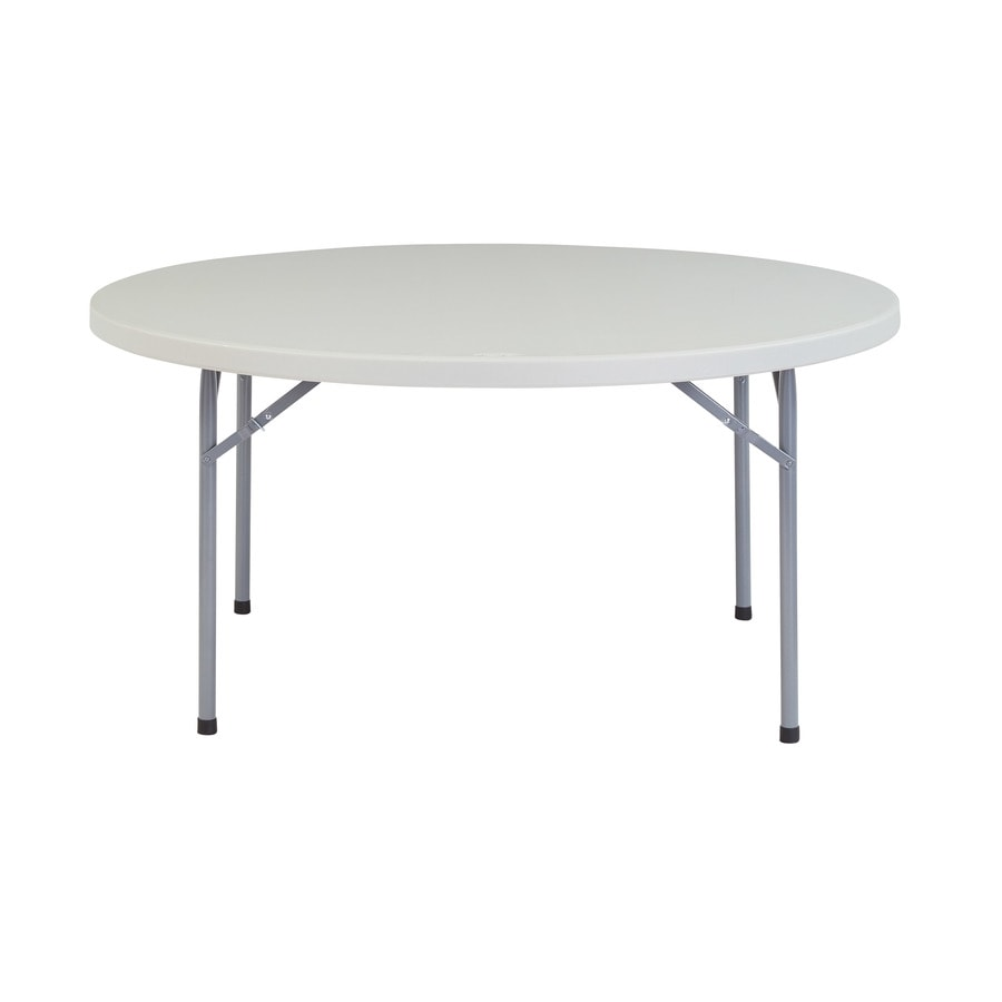 National Public Seating 60-in x 60-in Circle Steel Speckled Grey Folding Table