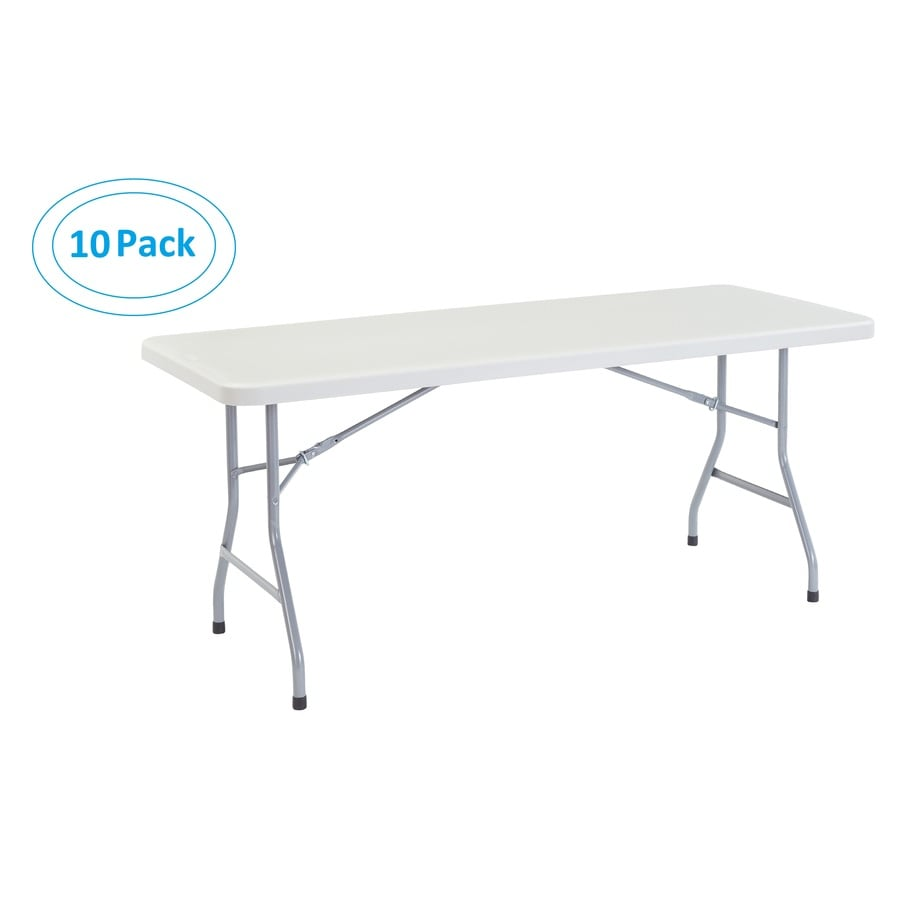 National Public Seating Set of 10 72-in x 30-in Rectangle Steel Lightly Spotted Grey Folding Tables