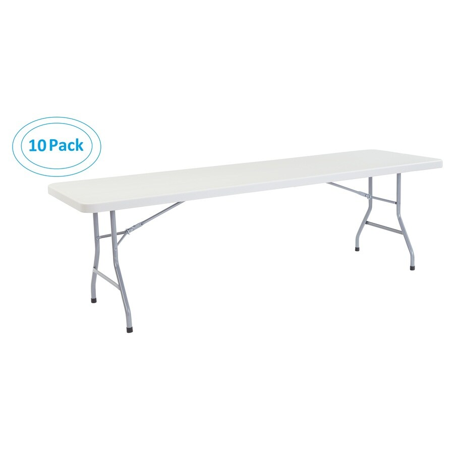 National Public Seating Set of 10 96-in x 30-in Rectangle Steel Lightly Spotted Grey Folding Tables