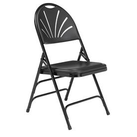 National Public Seating 4 Pack Indoor/Outdoor Steel Black Banquet Folding  Chair