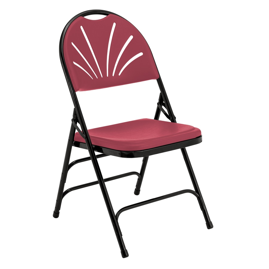 National Public Seating 4-Pack Indoor/Outdoor Steel Burgundy Banquet Folding Chair