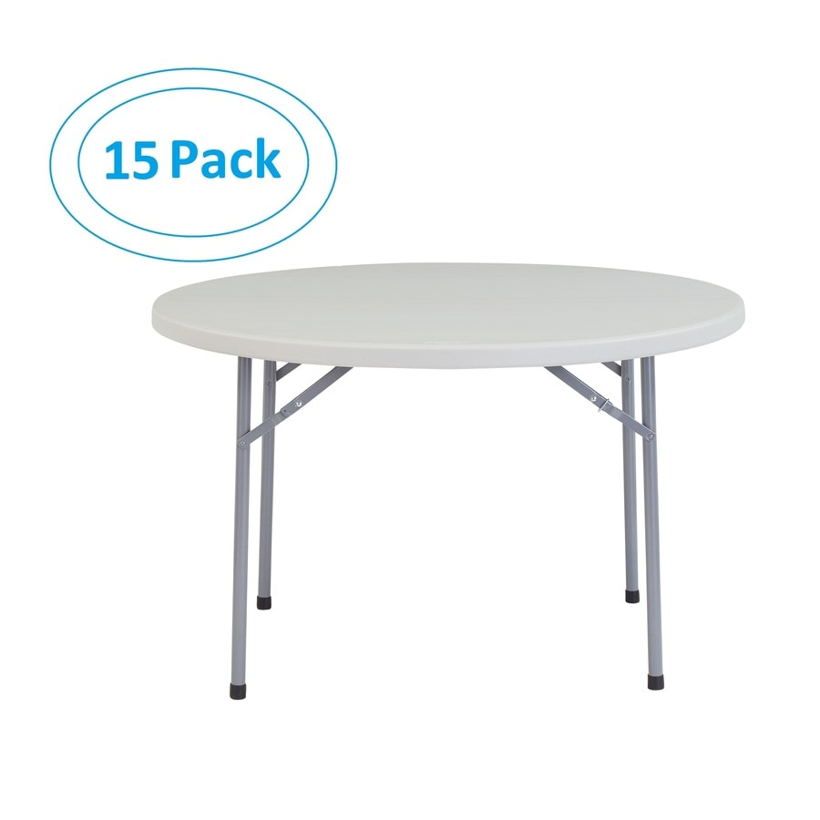 National Public Seating Set of 15 48-in x 48-in Circle Steel Lightly Spotted Grey Folding Tables