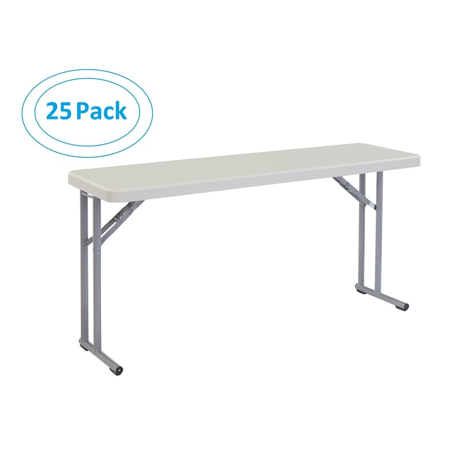 National Public Seating Set of 25 60-in x 18-in Rectangle Steel Lightly Spotted Grey Folding Tables