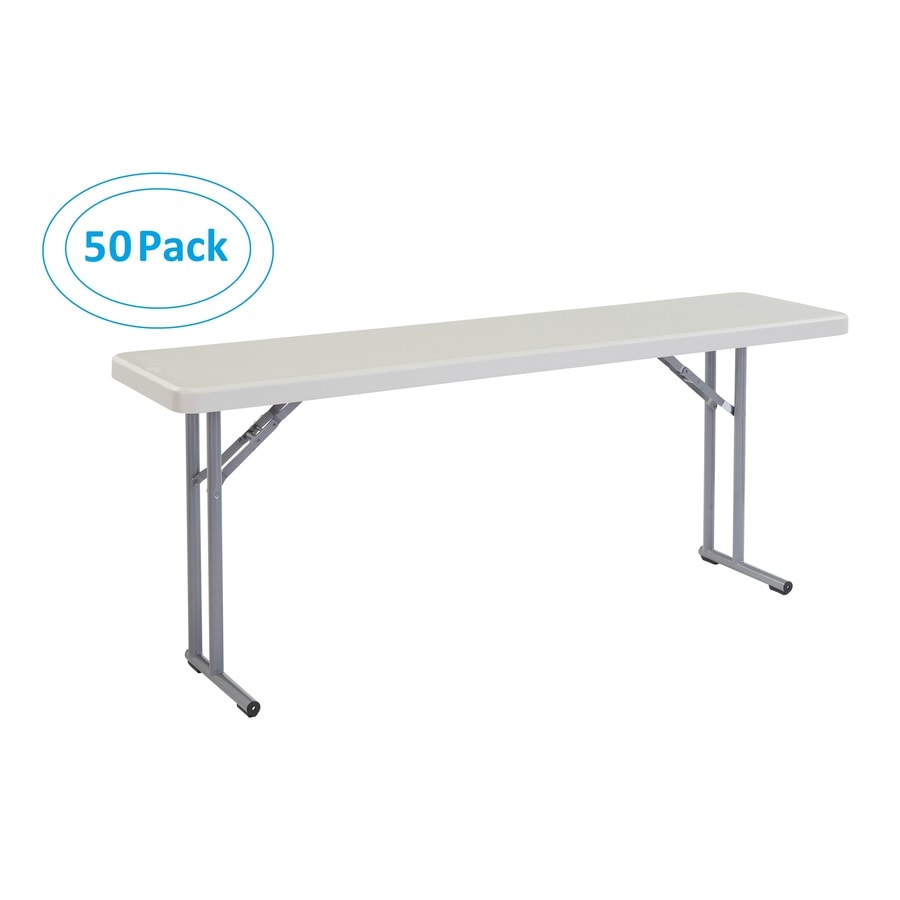 National Public Seating Set of 50 72-in x 18-in Rectangle Steel Lightly Spotted Grey Folding Tables