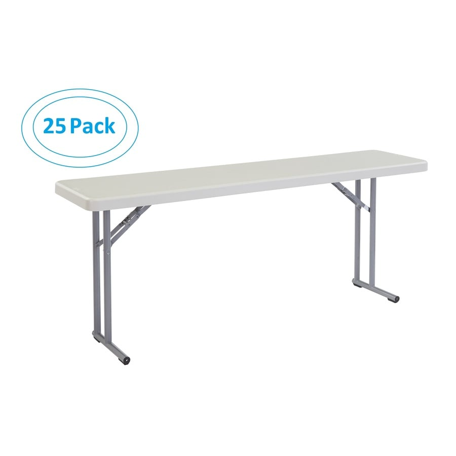 National Public Seating Set of 25 72-in x 18-in Rectangle Steel Lightly Spotted Grey Folding Tables