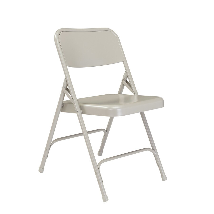 National Public Seating 4-Pack Indoor Steel Grey Standard Folding Chairs