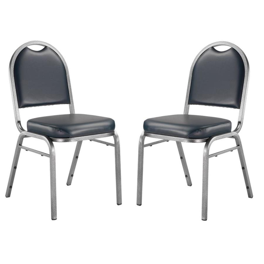National Public Seating 2-Piece Silver Vein Powder Coat Frame Stackable Reception Chairs