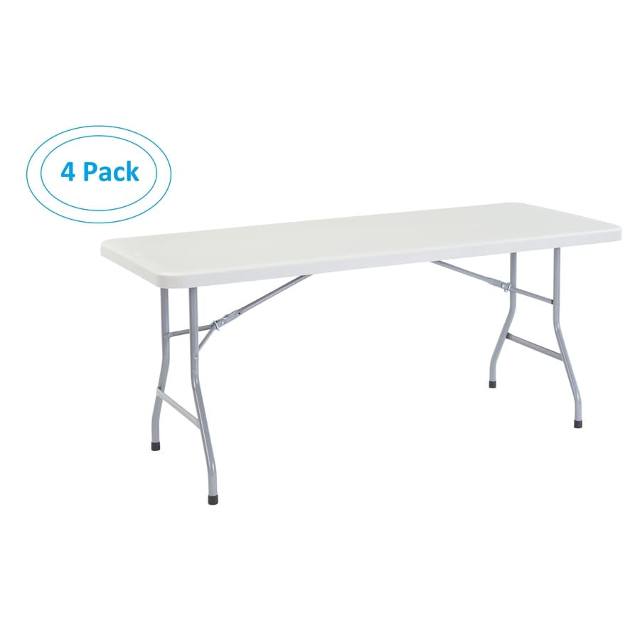 National Public Seating Set of 4 72-in x 30-in Rectangle Steel Lightly Spotted Grey Top with Grey Textured Powder Coated Legs Folding Tables