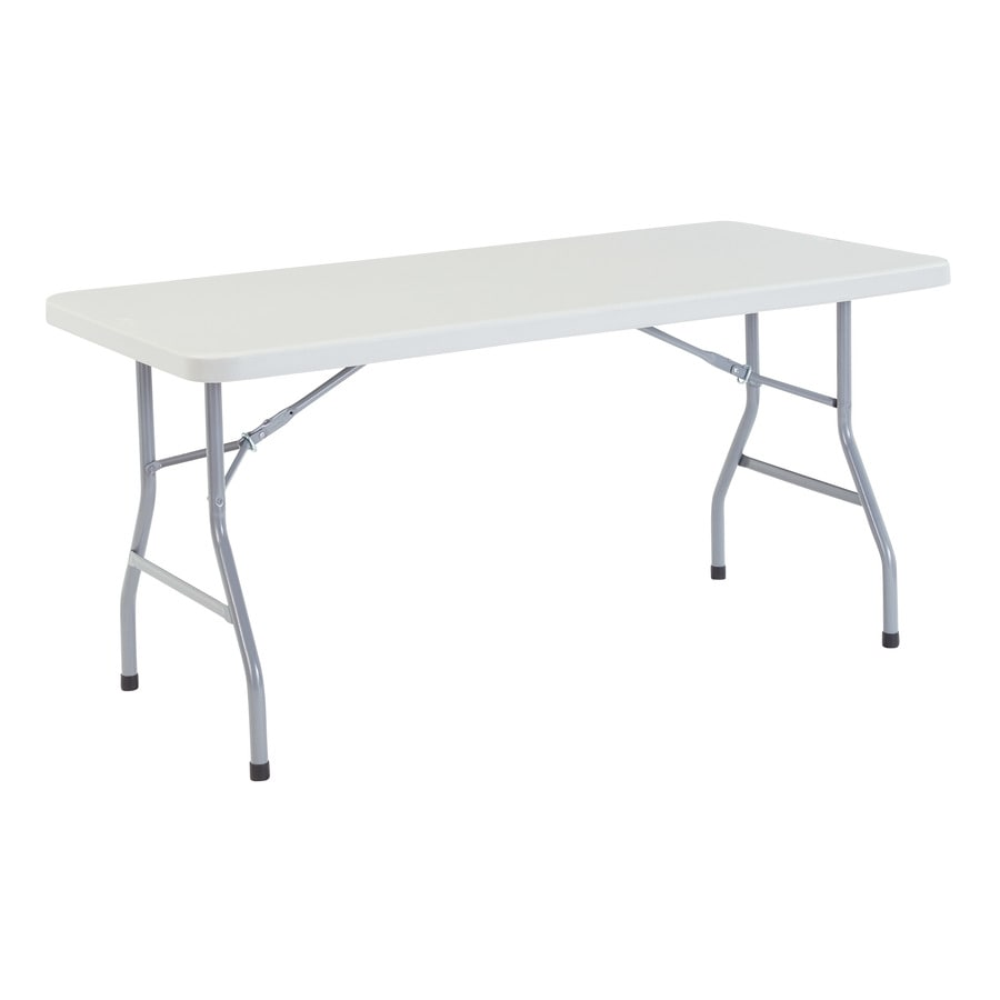 National Public Seating 60 In X 30 In Rectangle Steel Speckled Grey Folding  Table