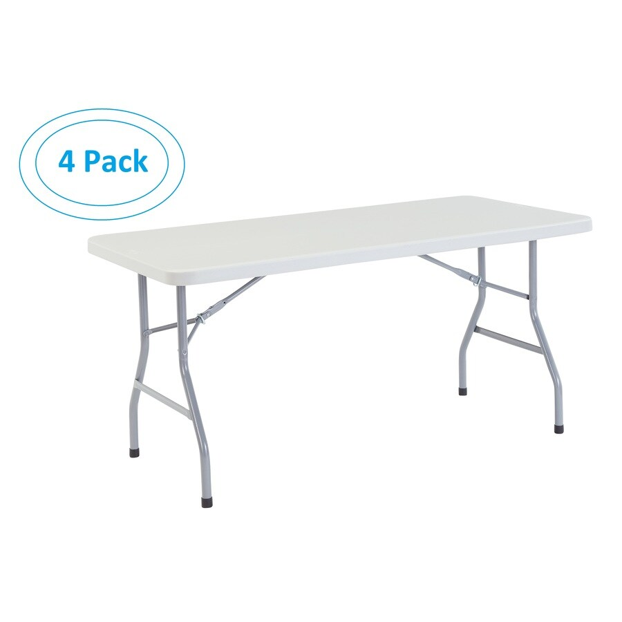 National Public Seating Set of 4 60-in x 30-in Rectangle Steel Lightly Spotted Grey Folding Tables