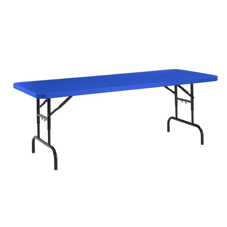 National Public Seating 72-in x 30-in Rectangle Steel Blue Blow Molded Top Folding Table