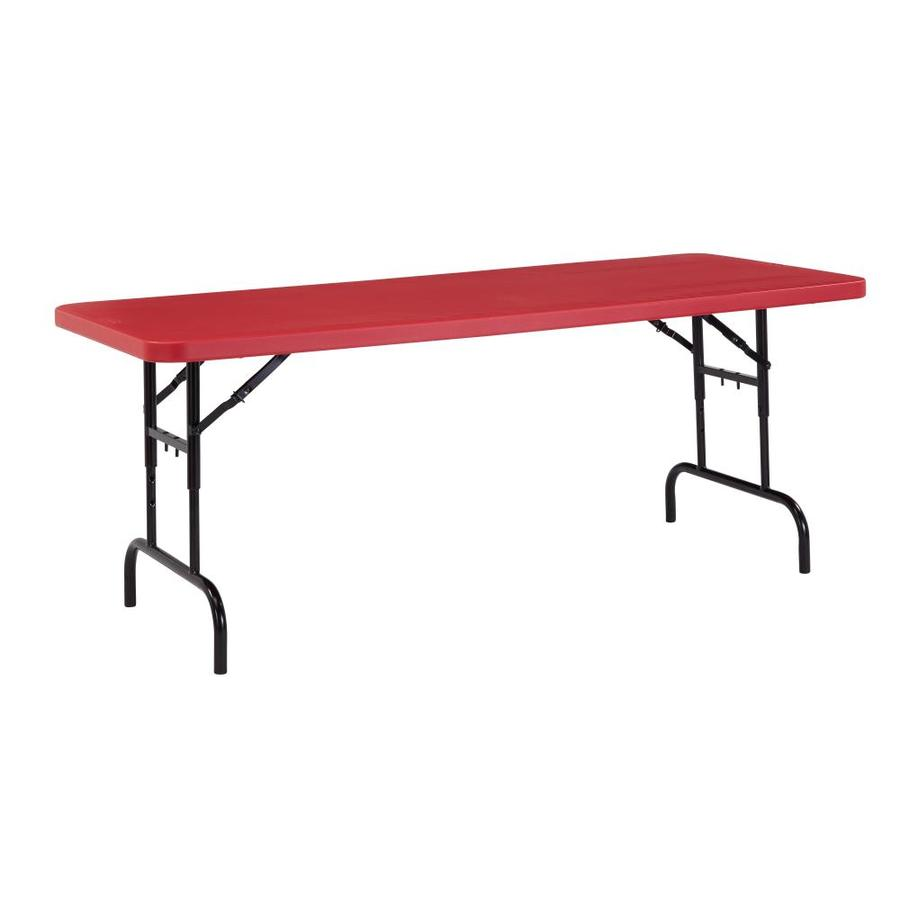 National Public Seating 72-in x 30-in Rectangle Steel Red Blow Molded Top Folding Table