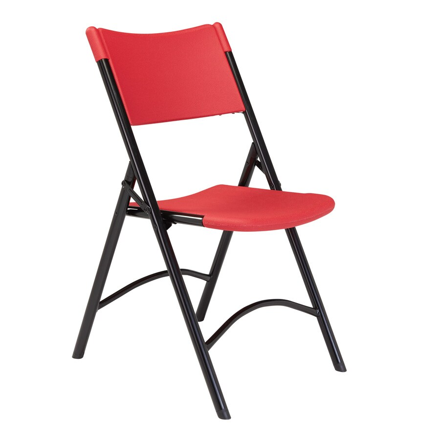 National Public Seating 4-Pack Indoor/Outdoor Steel Red Standard Folding Chair