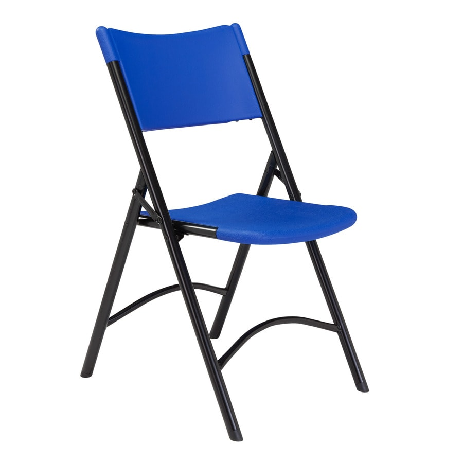 National Public Seating 4-Pack Indoor/Outdoor Steel Blue Standard Folding Chair